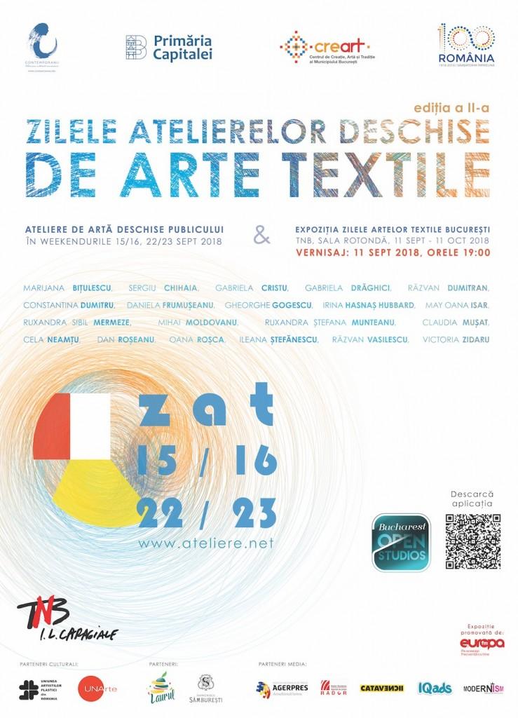 Atelierele de tapiserie, imprimerie, modă și obiect textil, vor fi deschise publicului gratuit pentru vizitare în weekendurile 15-16 septembrie 2018